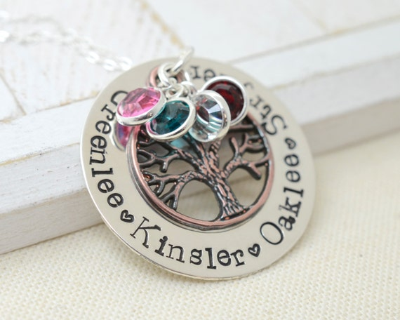 Stamped Metal Personalized Family Tree Necklace - Mother's Day Gift - Mommy Grandma Nana Necklace - Birthstone Jewelry - Family Jewelry