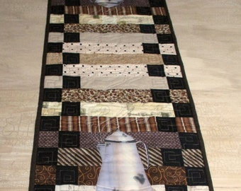 Quilted Table Runner Coffee Theme Hand Painted Coffee Pots Quiltsy Handmade