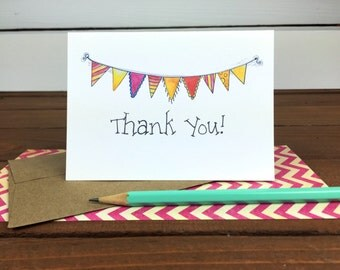Bunting Thank You Cards Set, Thank You Notes, Thankyou Cards, Thank You Note Cards, Illustrated Thank You Notecards - Boxed Set of 8