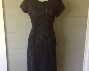 Vintage 1940s/50s Dress / Cotton Eyelet Navy Blue Wiggle Dress /Day Dress/ Front Pockets / Metal Zipper / Pat Lessser/