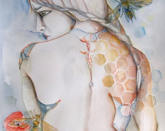 It isn't easy BEEing Original 18x24 watercolor painting unframedgirl with bees and honey comb