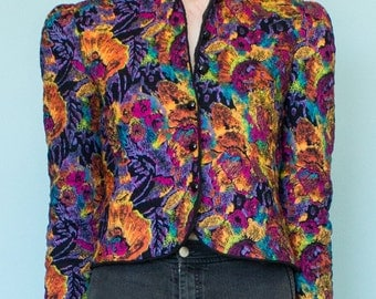 1980s Multi Color Quilted Jacket S-M