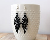 B I R D - Black Feather, Hand Painted Wooden Filigree, Silver Plated Dangle Earrings