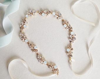 Crystal Bridal Headband- Opal and Crystal Bridal Headband
