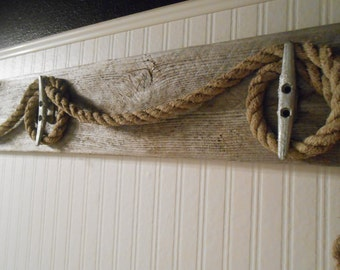 Nautical Towel Holder Rope, Driftwood, Boat Cleats Beach Decor