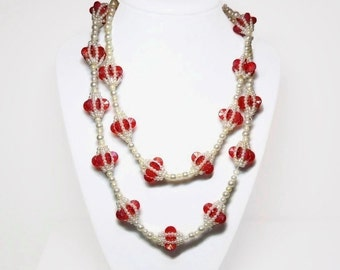 "36"" Pearl & Rosette Beaded Necklace in Berry Red Color Accents and Intertwined Pearls Motif - Vintage 20's to 30's Art Deco Costume Jewelry"