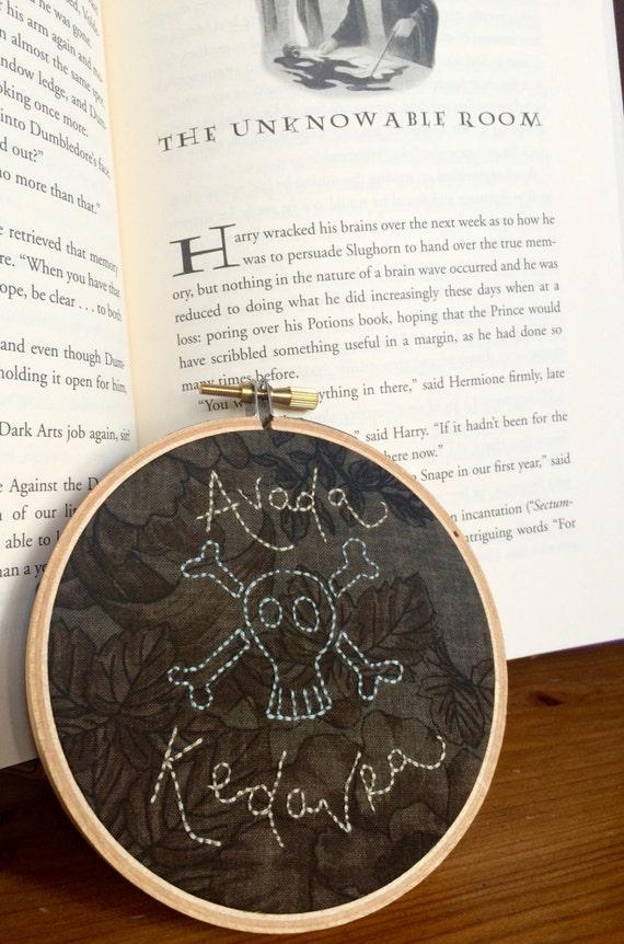 Small Harry Potter Hand-embroidered Hoop- Avada Kedavra