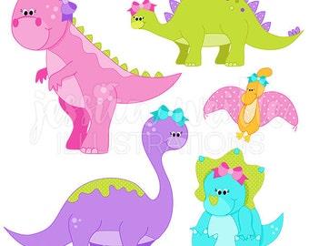 Girly Dinosaurs Cute Digital Clipart - Commercial Use OK - Dinosaurs with Bows, Dinosaur Graphics, Dinosaur Clipart