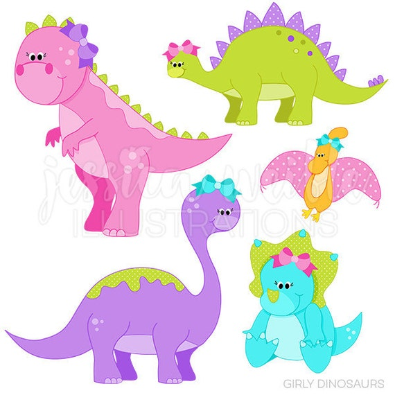 Girly Dinosaurs Cute Digital Clipart - Commercial Use OK - Dinosaurs with Bows, Dinosaur Graphics, Dinosaur Clipart