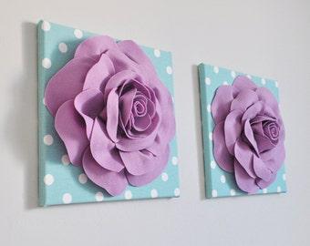 Flower Wall Hangings Lilac Roses, Flowers Wall Art, Girl Nursery Decor, Kids Wall Art, Frozen Color Wall Decor, SET OF 2 Flower Prints