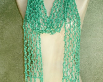 Long MINT GREEN Skinny Open Lace Knit Scarf Boho Chic Cotton Wrap