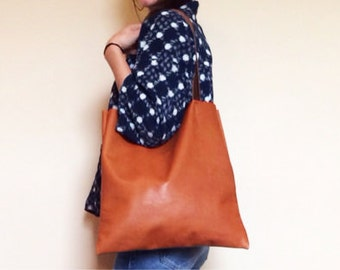Supple Brown Leather Tote Bag - Brown Leather Bag - Leather Laptop Bag- Sale
