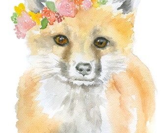 Fox Floral Watercolor Painting Giclee Print 5x7 Nursery Art Flower Wreath Woodland Animal