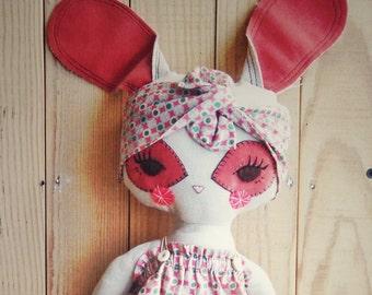 Rabbit -handmade fabric doll- cloth doll- OOAK