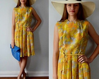 Vintage Dress, Vintage Dresses, 1950s Dress, 1950s Fashion Fair, Garden Floral Dress, Sleeveless Dress, Summer Dress, Casual