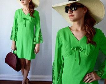 Vintage 1960s Mini Dress, Green Bell Sleeve Mini Dress, 1960s Dress,  Mini Dress, Vintage Short Dress