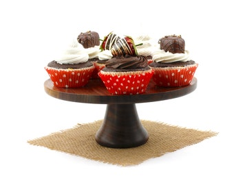 Walnut Cake Stand / Wooden Pedestal Dessert Plate /Cupcake Stand