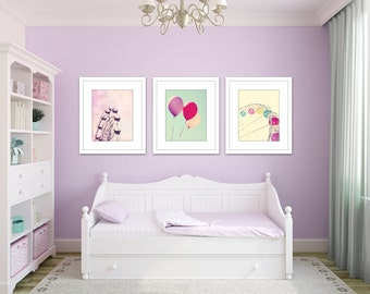 girl nursery decor, set of 3 prints, carnival art, set of 3 photos, pink and purple art, toddler girl room decor, baby girl room, wall art