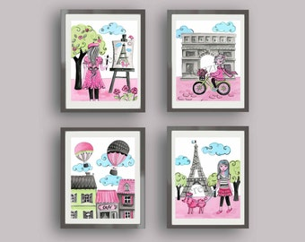 Paris bedroom decor, Paris art prints, paris nursery art decor, children nursery art,  paris room pictures, travel bedding art