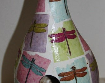 decoupaged gourd birdhouse with dragonflies