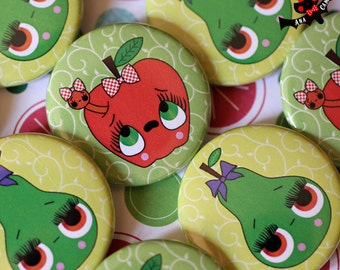 Set of 2 badges pinback buttons anthropomorphic pear and apple with worm