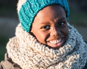 Turquoise and Natural Chunky Hand Knit Beanie Hat with Pompom
