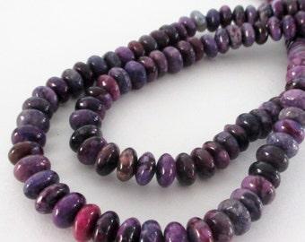 "Purple Jasper Rondelle Beads - Plum Purple Rondelle Gemstone - Smooth Jasper Beads - 8mmx4mm - 16"" Strand - Jewelry Beading"