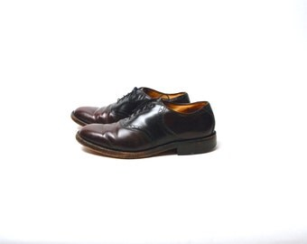 Johnson and Murphy Oxblood and Black Oxford Saddle Shoes // Men's Size 9.5 D