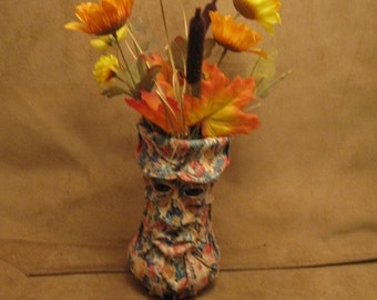 "Grichels large flower vase - ""Grosolfon"" 26910 - multicolored floral print cream leather with brown bear eyes"