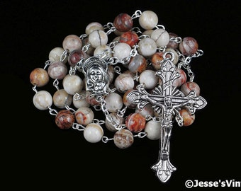 Catholic Rosary Beads White Brown Brazilian Jasper Natural Stone Traditional Silver Five Decade Catholic Gift