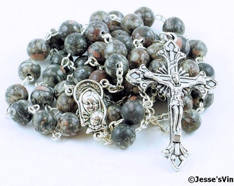 Catholic Rosary Beads Green Brown Fossil Agate Natural Stone Silver Traditional Five Decade Unisex