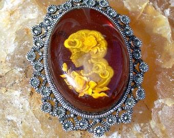 Amber Cameo Intaglio Brooch Sterling Silver Reverse Carved Judith Jack JJ Vintage Victorian Revival