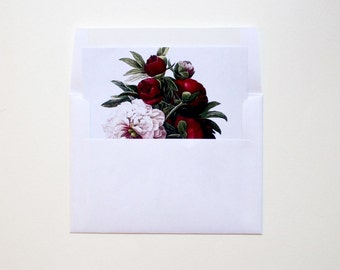 Printed Invitation Envelope Liners, Printed Liners, Floral Liners, Botanical Print Liners, Square Liners - 25 Garden Blooms Envelope Liners