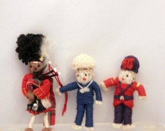 3 Miniature Yarn Dolls British Guard Soldier Sailor Scottish Piper Vintage Handmade