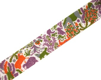 Classiky Japanese Washi tape - purple & orange - Asian countryside farm animals - donkey, chickens, goats, wolf, sheep
