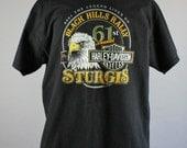SALE - Vintage Harley Davidson Sturgis Eagle Native Steer Skull Double Sided Logo Tee Shirt - Mens Size XL