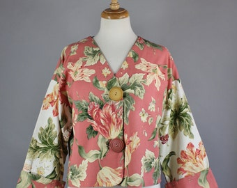 Floral Jacket, Vintage 90s Women's Plus Size Dusty Rose Large Floral Print Cropped Shabby Chic Cottage Style Cotton Jacket, Large
