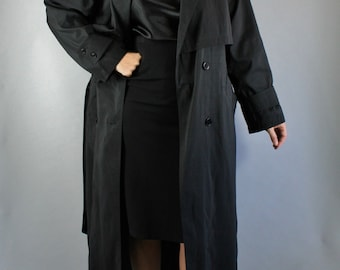 Vintage 80s Women's Classic Black Wear to Work Spring Fall Trenchcoat // Weather Resistant Jacket Coat