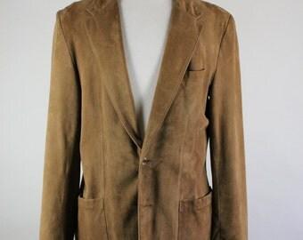 SALE - Vintage 70s Brown Suede Leather Jacket Sport Coat - Mens Size Medium