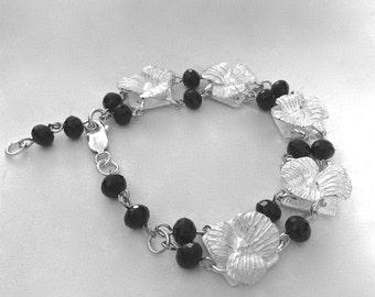 silver flower bracelet, ready to ship, black beaded jewelry, floral style, birthday gift, gardener gift, florist gift