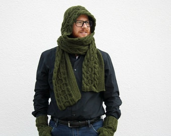 Green Hooded Scarf, Hand Knitted Scarf with Hood, Cabled Scoodie, Scarf Hoodie, Army Green Hood Scarf, Winter Fashion Men, Women's Fashion