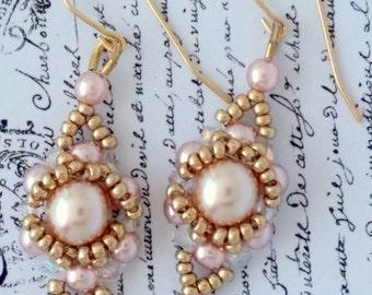 Peachy Pearl Drop Earrings, Wedding, Spring, Halo