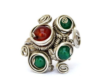 Stone Ring, Multistone Ring, Green and Red, Boho Ring, Steampunk Ring, Silver Ring, Carnelian Ring, Womens Ring, Gift for Her