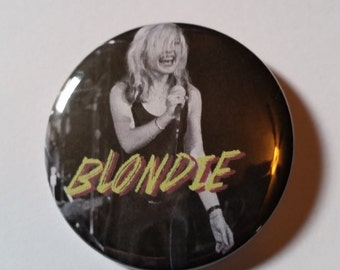 punk singer Debbie Harry Blondie pin badge retro style pinback button hand pressed 2-1/4 inch pin
