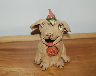 "Dora Baker ""Feed the Puppy"" cute Puppy & Bird hand built Studio Pottery Bank"