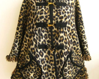 Vintage 50s 60s Reversible Faux Leopard Print Black Wool Hooded Cape Coat Swing Jacket