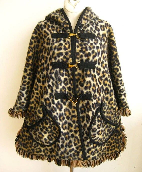 Vintage 50s 60s Reversible Faux Leopard Print Black Wool