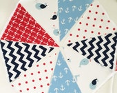 Nautical Whale Baby Shower Bunting, Banner, Fabric Pennant Flags, Navy Blue Chevron, Red Anchor, Light Blue Whale Baby Boy Nursery Decor