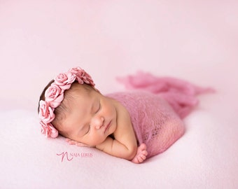 Eliana - vintage dusty pink satin rose rosette headband halo newborn bow