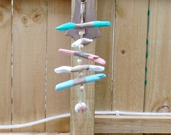 Painted Driftwood Mobile - Beach Decor - Driftwood Hanging